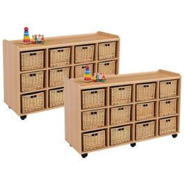 2 x 12 Deep Wicker Basket Storage Units - Special Offer!