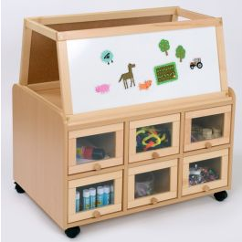 Double Sided Unit with Drywipe Easel & Doors