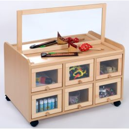 Double Sided Resource Unit with Mirror and Doors