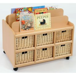 Double Sided Book Display and Storage with Wicker Baskets