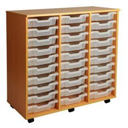 Triple Column 30 Shallow Tray Mobile Storage Unit
