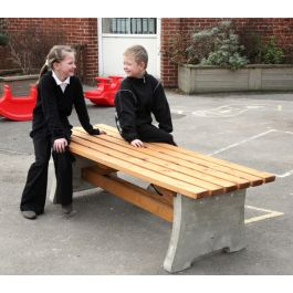Heavy Duty Outdoor Wood & Concrete Bench