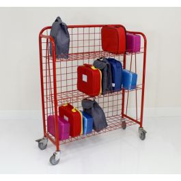 Coloured Single Sided Lunchbox Trolley - Red