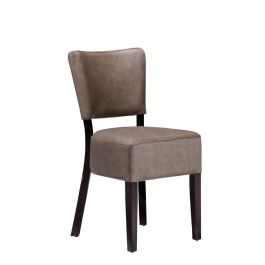 Club Luxurious Upholstered Cafe Side Chair - Distressed Bark