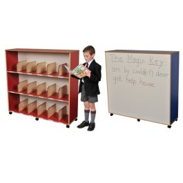 Divider Childrens Tall Bookcase with Dry Wipe Back