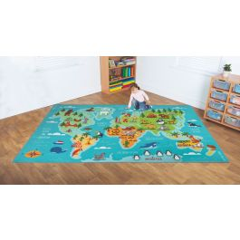 Children's Animals and Places of the World Geographical Classroom Carpet