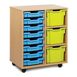 Monarch 8 Shallow and 3 Extra Deep Tray Storage Unit - Maple