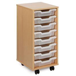 Monarch Single Bay 8 Shallow Tray School Storage Unit - Maple