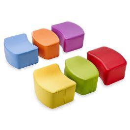 Children's Wipe Clean Modular Seating Pouffe - Set of 6
