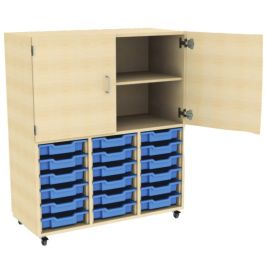 18 Tray Storage Unit with Top Cupboard