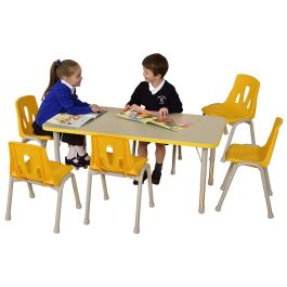 Thrifty 6 Seater Height Adjustable Rectangle Classroom Table
