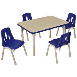 Thrifty 4 Seat Rectangular Height Adjustable Classroom Table