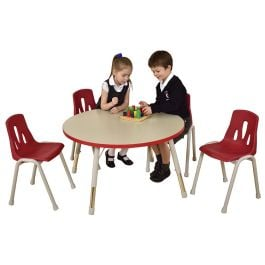 Thrifty 4 Seater Round Height Adjustable Classroom Table