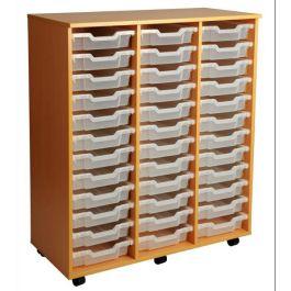 Triple Column 36 Shallow Tray Mobile Storage Unit